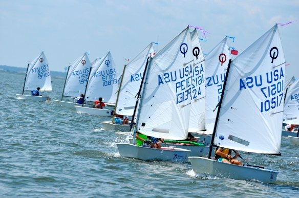 Clayton Johnson (far left) and JC Hermus (3rd from left) coming off the start at the NJ State Optimist Championship.