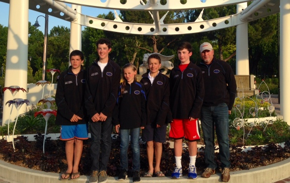SailStrong Red Team USA Trofeo Marco Rizzotti 2014 (JC Hermus, Gray Benson, Maddie Hawkins, Thomas Rice, Clayton Johnson, and Coach Scott Norman)