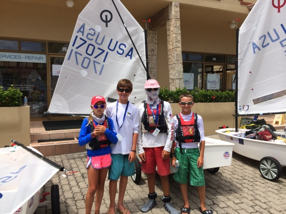 SailStrong Sailors at 2014 IODA North American Championship (L to R: Maddie Hawkins, Michael Pinto, Thomas Rice, Sam Bruce)