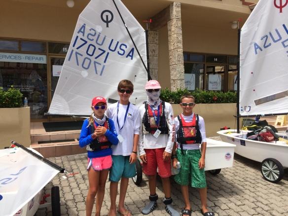 SailStrong Sailors at 2014 IODA North American Championship (L to R: Maddie Hawkins, Michael Pinto, Thomas Rice, Sam Bruce)